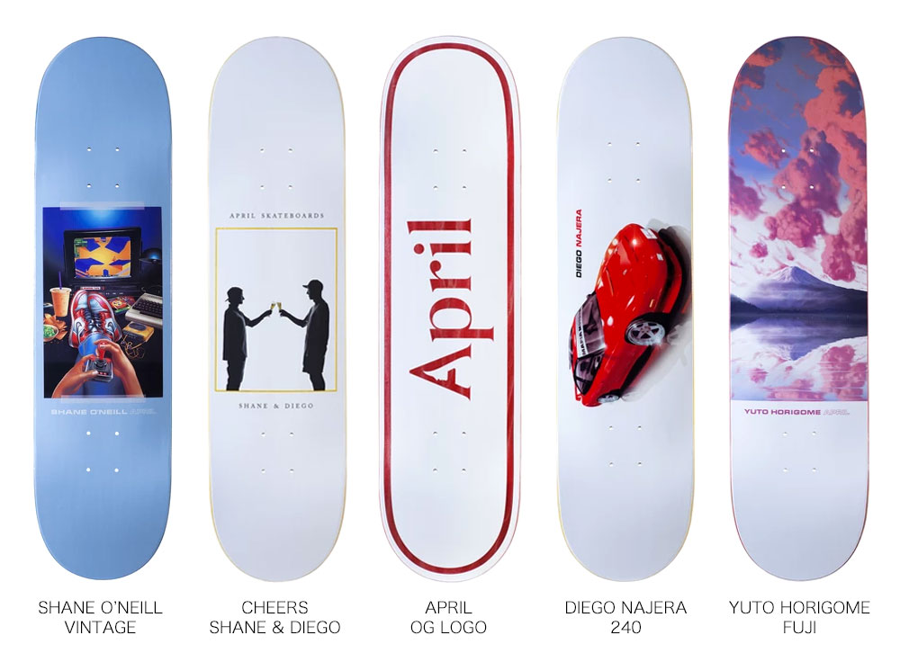 APRIL SKATEBOARDS, DECK, SHANE O'NEILL, DIEGO NAJERA, YUTO HORIGOME