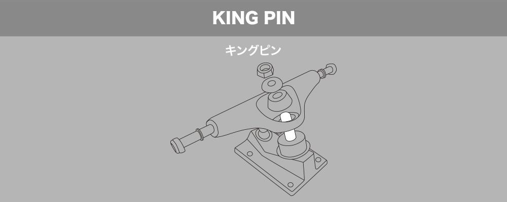 スケートボード(スケボー)初心者の方へ【スケートボードのトラックパーツ名称】KING PIN キングピン